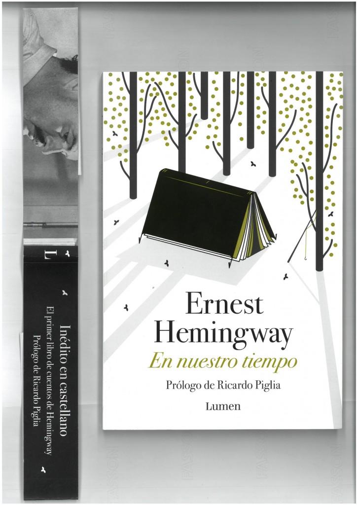 La tapa del libro y a un costado la faja ilustrada.